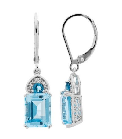 Earrings - 5.22 Carat Emerald and Round Cut Daydream Blue Topaz Earrings 925 Sterling Silver