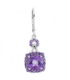 Earrings - 3.60 Carat Cushion and Round Cut Amethyst Earrings 925 Sterling Silver