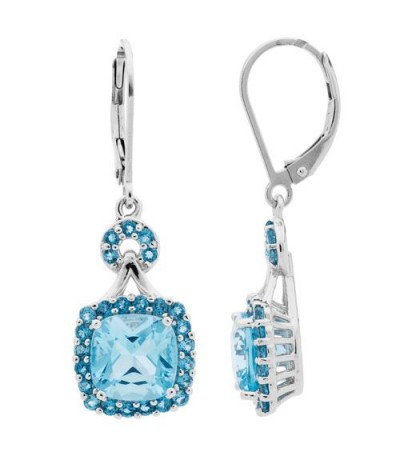 Earrings - 4.50 Carat Cushion and Round Cut Blue Topaz Earrings Sterling Silver
