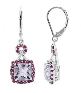 More about 4.10 Carat Cushion and Round Cut Multi Color Earrings 925 Sterling Silver