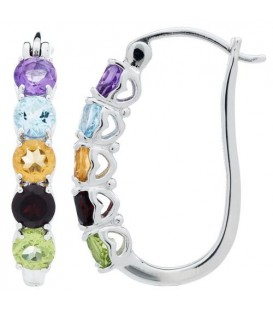 Round Cut Multi Color Earrings 925 Sterling Silver