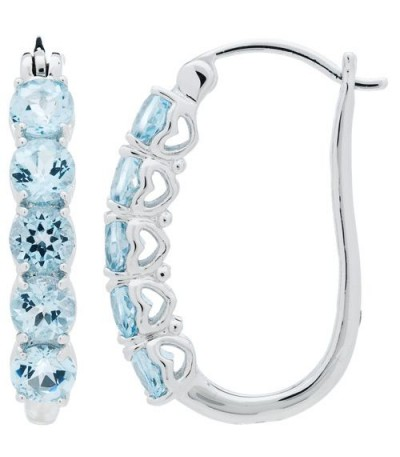 Earrings - 2.50 Carat Round Cut Blue Topaz Earrings 925 Sterling Silver