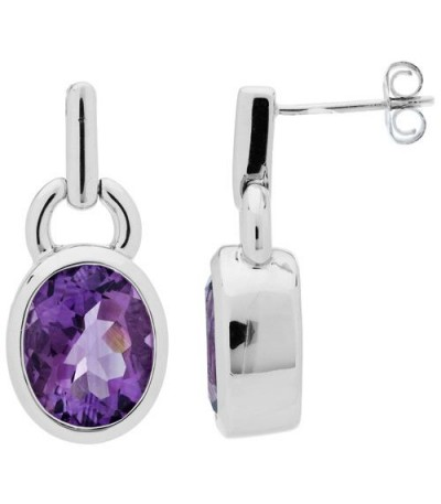 Earrings - 5.00 Carat Oval Cut Amethyst Earrings 925 Sterling Silver