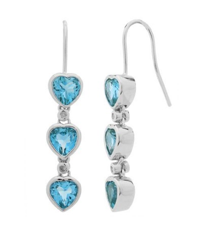Earrings - 2.72 Carat Heart and Round Cut Blue Topaz and Diamond Earrings 925 Sterling Silver