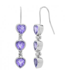 Earrings - 2.14 Carat Heart and Round Cut Amethyst and Diamond Earrings 925 Sterling Silver
