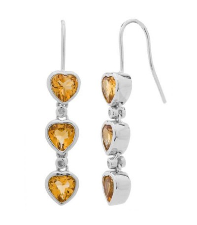 Earrings - 2.42 Carat Heart and Round Cut Citrine and Diamond Earrings 925 Sterling Silver