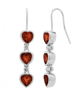 Earrings - 2.14 Carat Heart and Round Cut Garnet and Diamond Earrings 925 Sterling Silver