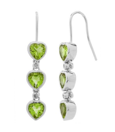 Earrings - 2.44 Carat Heart and Round Cut Peridot and Diamond Earrings 925 Sterling Silver