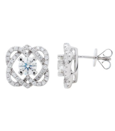 Earrings - 1.51 Carat Round Cut Eternitymark Diamond Earrings 18Kt White Gold