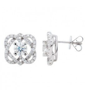 1.51 Carat Round Cut Eternitymark Diamond Earrings 18Kt White Gold