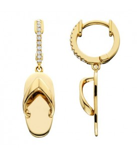 Earrings - 0.10 Carat Round Cut Sandals Drop Earrings 14Kt Yellow Gold