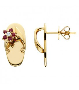 Earrings - 0.23 Carat Round Cut Ruby and Diamond Sandals Earrings 14Kt Yellow Gold