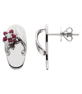 Earrings - 0.23 Carat Round Cut Ruby and Diamond Sandals Earrings 14Kt White Gold