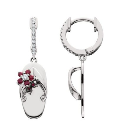 Earrings - 0.33 Carat Round Cut Ruby and Diamond Sandals Earrings 14Kt White Gold
