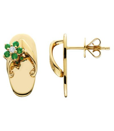 Earrings - 0.21 Carat Round Cut Emerald and Diamond Sandals Earrings 14Kt Yellow Gold