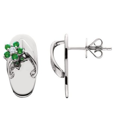 Earrings - 0.21 Carat Round Cut Emerald & Diamond Sandals Earrings 14Kt White Gold
