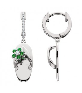 0.31 Carat Round Cut Emerald & Diamond Sandals Earrings 14Kt White Gold