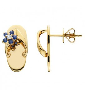0.23 Carat Round Cut Sapphire & Diamond Sandals Earrings 14Kt Yellow Gold