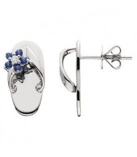 0.23 Carat Round Cut Sapphire & Diamond Sandals Earrings 14Kt White Gold