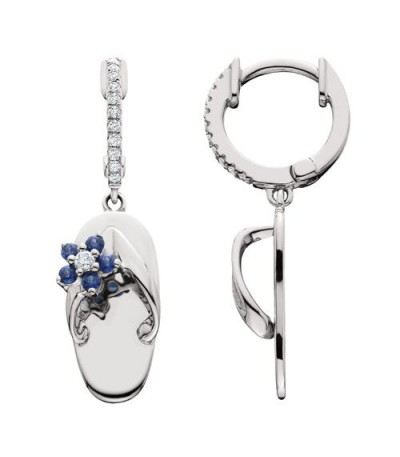 Earrings - 0.33 Carat Round Cut Sapphire & Diamond Sandals Earrings 14Kt White Gold
