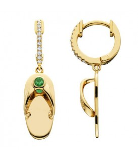 0.22 Carat Round Cut Emerald & Diamond Sandals Earrings 14Kt Yellow Gold