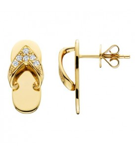 Earrings - 0.10 Carat Round Cut Diamond Sandals Earrings 14Kt Yellow Gold