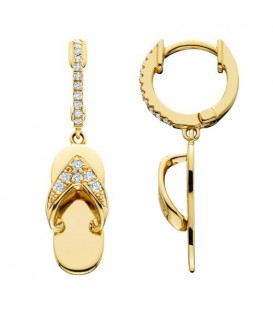 Earrings - 0.20 Carat Round Cut Diamond Sandals Earrings 14Kt Yellow Gold