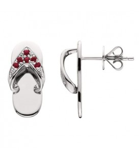 0.14 Carat Round Cut Ruby Sandals Earrings 14Kt White Gold