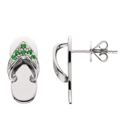 Earrings - 0.12 Carat Round Cut Emerald Sandals Earrings 14Kt White Gold