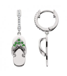 0.22 Carat Round Cut Emerald & Diamond Sandals Earrings 14Kt White Gold