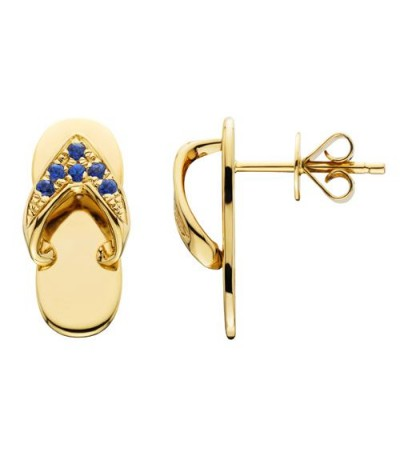 Earrings - 0.14 Carat Round Cut Sapphire Sandals Earrings 14Kt Yellow Gold