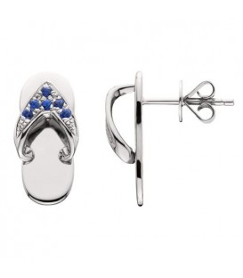 0.14 Carat Round Cut Sapphire Sandals Earrings 14Kt White Gold