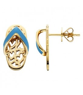 Enamel Sandals Earrings 14Kt Yellow Gold