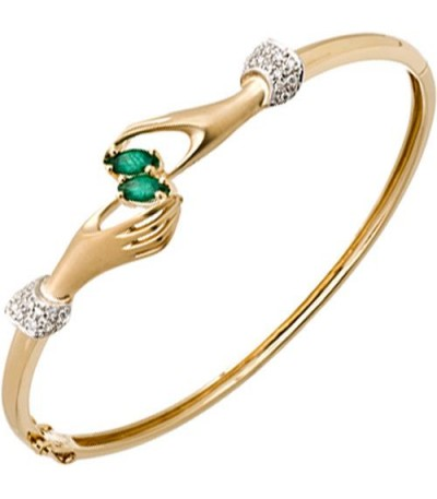 Bracelets - 0.35 Carat Emerald and Diamond Bangle 14Kt Yellow Gold