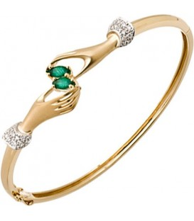 More about 0.49 Carat Emerald and Diamond Bangle 14Kt Yellow Gold
