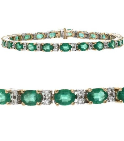 Bracelets - 9.35 Carat Emerald and Diamond Bracelet 14Kt Yellow Gold
