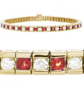 Bracelets - 4.48 Carat Ruby and Diamond Tennis Bracelet 14Kt Yellow Gold