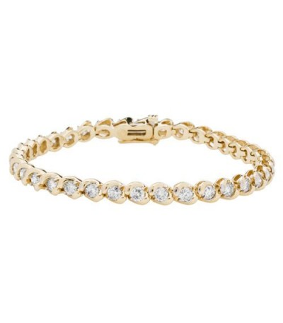 Bracelets - 4.00 Carat Diamond Tennis Bracelet 14Kt Yellow Gold