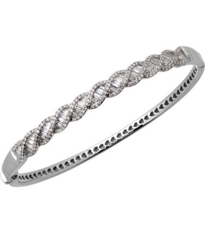 Bracelets - 1.54 Carat Diamond Bangle Bracelet 14Kt White Gold