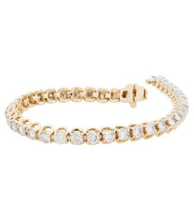 Bracelets - 7.00 Carat Diamond Tennis Bracelet 14Kt Yellow Gold