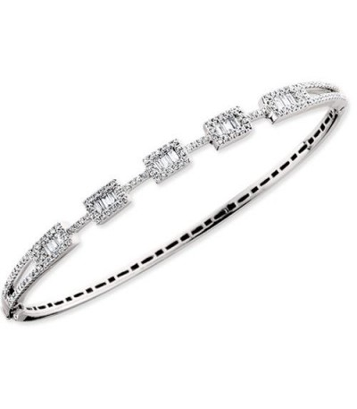Bracelets - 0.97 Carat Diamond Bangle Bracelet 14Kt White Gold