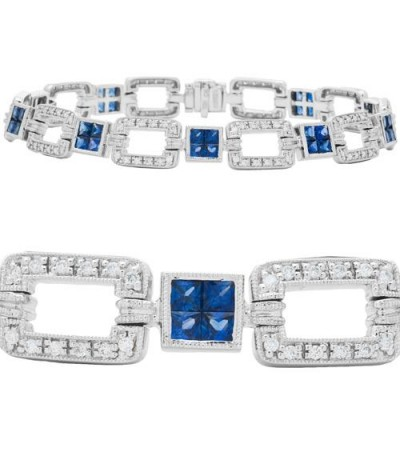 Bracelets - 4.90 Carat Sapphire and Diamond Bracelet 18Kt White Gold