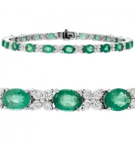 Bracelets - 9.50 Carat Emerald and Diamond Bracelet 14Kt White Gold