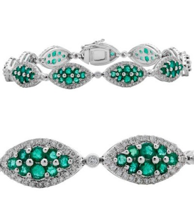 Bracelets - 6.40 Carat Emerald and Diamond Bracelet 14Kt White Gold