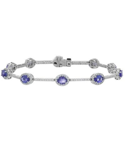 Bracelets - 5.28 Carat Tanzanite and Diamond Bracelet 14Kt White Gold
