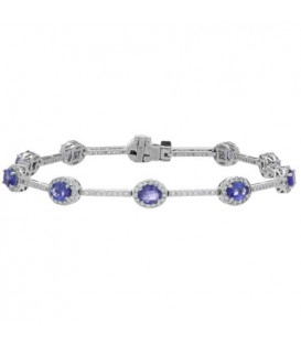 More about 5.28 Carat Tanzanite and Diamond Bracelet 14Kt White Gold