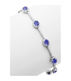 5.28 Carat Tanzanite and Diamond Bracelet 14Kt White Gold