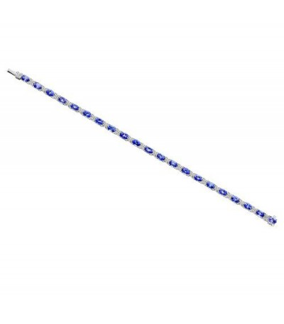 Bracelets - 10.20 Carat Tanzanite and Diamond Bracelet 14Kt White Gold