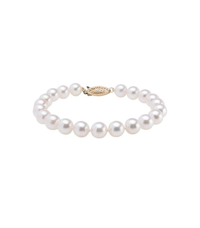 7 5mm White Cultured Akoya Pearl Bracelet 14kt Yellow Gold Clasp