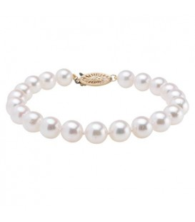 7-7.5mm White Cultured Akoya Pearl Bracelet 14Kt Yellow Gold Clasp